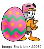 #25969 Clip Art Graphic Of A Yellow Number 2 Pencil With An Eraser Cartoon Character Standing Beside An Easter Egg