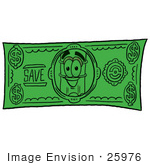 #25976 Clip Art Graphic Of A Yellow Number 2 Pencil With An Eraser Cartoon Character On A Dollar Bill