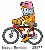 #25977 Clip Art Graphic Of A Yellow Number 2 Pencil With An Eraser Cartoon Character Riding A Bicycle