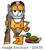 #25979 Clip Art Graphic of a Yellow Number 2 Pencil With an Eraser Cartoon Character Duck Hunting, Standing With a Rifle and Duck by toons4biz
