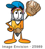 #25989 Clip Art Graphic Of A Yellow Number 2 Pencil With An Eraser Cartoon Character Catching A Baseball With A Glove