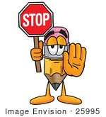 #25995 Clip Art Graphic Of A Yellow Number 2 Pencil With An Eraser Cartoon Character Holding A Stop Sign
