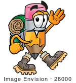#26000 Clip Art Graphic Of A Yellow Number 2 Pencil With An Eraser Cartoon Character Hiking And Carrying A Backpack