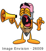 #26009 Clip Art Graphic Of A Yellow Number 2 Pencil With An Eraser Cartoon Character Screaming Into A Megaphone