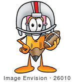 #26010 Clip Art Graphic Of A Yellow Number 2 Pencil With An Eraser Cartoon Character In A Helmet Holding A Football