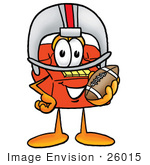 #26015 Clip Art Graphic Of A Red Landline Telephone Cartoon Character In A Helmet Holding A Football