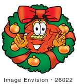 #26022 Clip Art Graphic Of A Red Landline Telephone Cartoon Character In The Center Of A Christmas Wreath