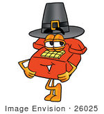 #26025 Clip Art Graphic Of A Red Landline Telephone Cartoon Character Wearing A Pilgrim Hat On Thanksgiving