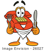 #26027 Clip Art Graphic Of A Red Landline Telephone Cartoon Character Holding A Knife And Fork