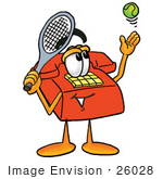 #26028 Clip Art Graphic Of A Red Landline Telephone Cartoon Character Preparing To Hit A Tennis Ball
