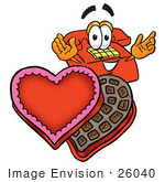 #26040 Clip Art Graphic Of A Red Landline Telephone Cartoon Character With An Open Box Of Valentines Day Chocolate Candies