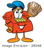 #26046 Clip Art Graphic Of A Red Landline Telephone Cartoon Character Catching A Baseball With A Glove
