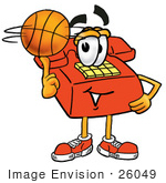 #26049 Clip Art Graphic Of A Red Landline Telephone Cartoon Character Spinning A Basketball On His Finger
