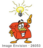 #26053 Clip Art Graphic Of A Red Landline Telephone Cartoon Character With A Bright Idea