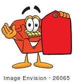 #26065 Clip Art Graphic Of A Red Landline Telephone Cartoon Character Holding A Red Sales Price Tag
