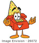 #26072 Clip Art Graphic Of A Red Landline Telephone Cartoon Character Wearing A Birthday Party Hat