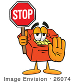 #26074 Clip Art Graphic Of A Red Landline Telephone Cartoon Character Holding A Stop Sign