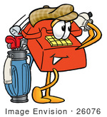 #26076 Clip Art Graphic Of A Red Landline Telephone Cartoon Character Swinging His Golf Club While Golfing