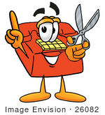 #26082 Clip Art Graphic Of A Red Landline Telephone Cartoon Character Holding A Pair Of Scissors