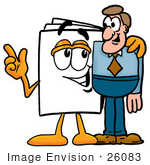 #26083 Clip Art Graphic Of A White Copy And Print Paper Cartoon Character Talking To A Business Man