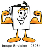 #26084 Clip Art Graphic Of A White Copy And Print Paper Cartoon Character Flexing His Arm Muscles