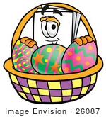 #26087 Clip Art Graphic Of A White Copy And Print Paper Cartoon Character In An Easter Basket Full Of Decorated Easter Eggs