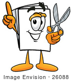 #26088 Clip Art Graphic Of A White Copy And Print Paper Cartoon Character Holding A Pair Of Scissors