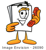 #26090 Clip Art Graphic Of A White Copy And Print Paper Cartoon Character Holding A Telephone