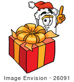 #26091 Clip Art Graphic Of A White Copy And Print Paper Cartoon Character Standing By A Christmas Present