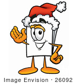 #26092 Clip Art Graphic Of A White Copy And Print Paper Cartoon Character Wearing A Santa Hat And Waving