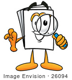 #26094 Clip Art Graphic of a White Copy and Print Paper Cartoon Character Looking Through a Magnifying Glass by toons4biz