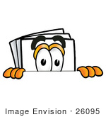 #26095 Clip Art Graphic of a White Copy and Print Paper Cartoon Character Peeking Over a Surface by toons4biz