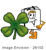 #26102 Clip Art Graphic Of A White Copy And Print Paper Cartoon Character With A Green Four Leaf Clover On St Paddy'S Or St Patricks Day
