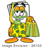 #26103 Clip Art Graphic Of A White Copy And Print Paper Cartoon Character In Green And Yellow Snorkel Gear
