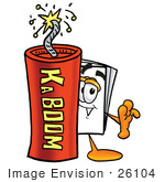 #26104 Clip Art Graphic Of A White Copy And Print Paper Cartoon Character Standing With A Lit Stick Of Dynamite