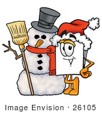 #26105 Clip Art Graphic Of A White Copy And Print Paper Cartoon Character With A Snowman On Christmas