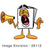 #26112 Clip Art Graphic of a White Copy and Print Paper Cartoon Character Screaming Into a Megaphone by toons4biz
