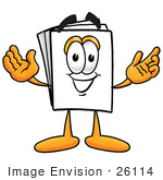 #26114 Clip Art Graphic Of A White Copy And Print Paper Cartoon Character With Welcoming Open Arms