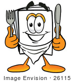 #26115 Clip Art Graphic Of A White Copy And Print Paper Cartoon Character Holding A Knife And Fork