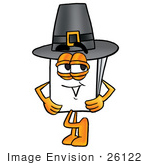 #26122 Clip Art Graphic Of A White Copy And Print Paper Cartoon Character Wearing A Pilgrim Hat On Thanksgiving