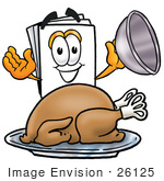 #26125 Clip Art Graphic Of A White Copy And Print Paper Cartoon Character Serving A Thanksgiving Turkey On A Platter