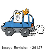 #26127 Clip Art Graphic Of A White Copy And Print Paper Cartoon Character Driving A Blue Car And Waving
