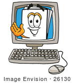 #26130 Clip Art Graphic Of A White Copy And Print Paper Cartoon Character Waving From Inside A Computer Screen