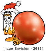 #26131 Clip Art Graphic Of A White Copy And Print Paper Cartoon Character Wearing A Santa Hat Standing With A Christmas Bauble