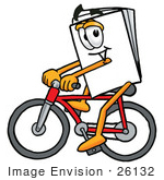 #26132 Clip Art Graphic Of A White Copy And Print Paper Cartoon Character Riding A Bicycle