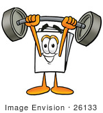 #26133 Clip Art Graphic Of A White Copy And Print Paper Cartoon Character Holding A Heavy Barbell Above His Head