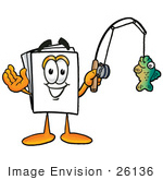 #26136 Clip Art Graphic Of A White Copy And Print Paper Cartoon Character Holding A Fish On A Fishing Pole