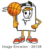 #26138 Clip Art Graphic Of A White Copy And Print Paper Cartoon Character Spinning A Basketball On His Finger