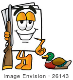 #26143 Clip Art Graphic Of A White Copy And Print Paper Cartoon Character Duck Hunting Standing With A Rifle And Duck