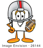 #26144 Clip Art Graphic Of A White Copy And Print Paper Cartoon Character In A Helmet Holding A Football